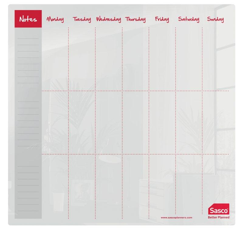 Sasco Week Planner Acrylic Desktop 450 x 450mm 2410179