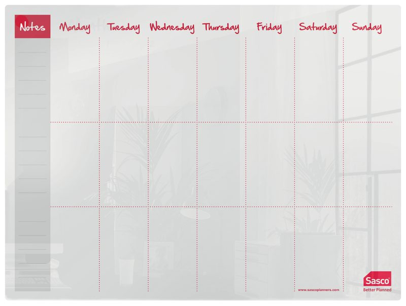 Sasco Week Planner Acrylic Desktop 600 x 450mm 2410180