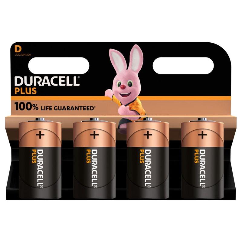 D Duracell Plus Power D Alkaline Battery (Pack 4) MN1300B4PLUS