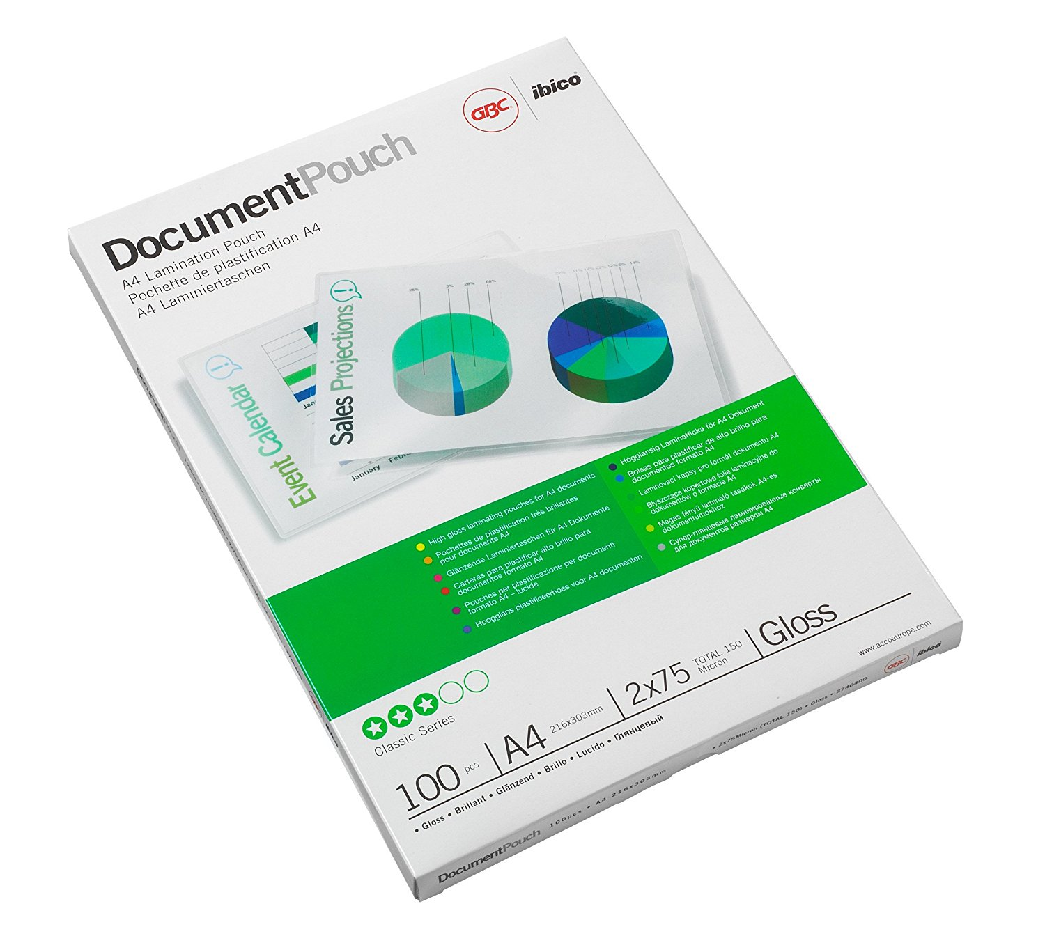 Image for GBC Laminating Pouches 150 Micron for A4 Ref 3740400 [Pack 100]