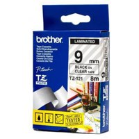 Brother TZE121 Black On Clear Label Tape 9mmx8m