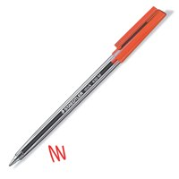 Staedtler 430 Stick Ball Pen Medium 1.0mm Tip 0.35mm Line Red Ref 430M-2 [Pack 10]