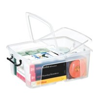 Image for Strata Smart Box Clip-On Folding Lid Carry Handles 24 Litre Clear Ref HW673CLR