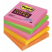 PostIt SuperSticky 76x76mm Neon Rain PK5