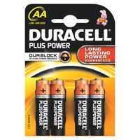 Duracell Plus Power AA Alkaline Battery (Pack 4) MN1500B4PLUS