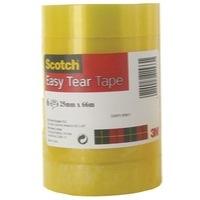 Scotch Easy Tear Clear Tape Roll 25mmx66m PK6