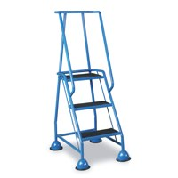 Barton Mobile Steps on Retractable Castors Double Handrails Three Tread W820xD550xH1420mm Ref 937-S009-B