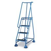 Barton Mobile Steps on Retractable Castors Double Handrails Four Tread W985xD580xH1725mm Ref 937-S011-B