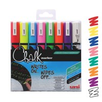 Uni Chalk Medium Assorted Markers Pk8