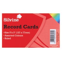 Silvine Record Cards 126x77mm Ruled Asst