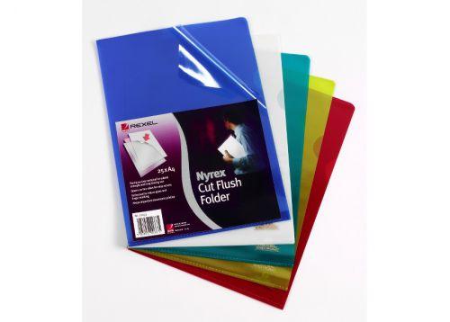 Rexel Nyrex Folder Cut Flush A4 Green 12161GN (PK25)