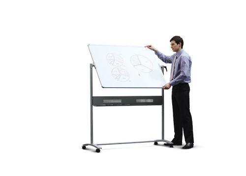 Nobo Mobile Whiteboard Easel Magnetic Steel Horizontal Pivot W1200xH900mm Board Ref 1901029