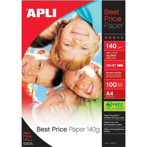 Apli A4 Glossy Paper 140gsm Pk 100