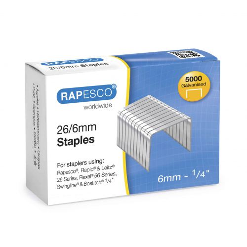 Rapesco 26/6mm Galvanised Staples (Pk5000)