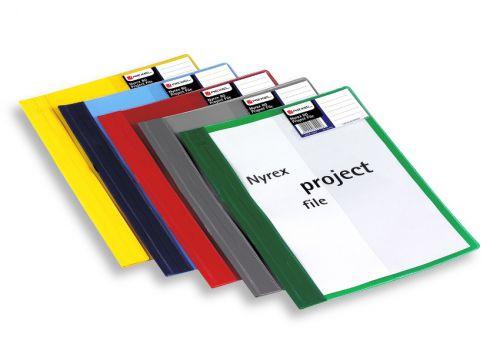 Rexel Nyrex Project Flat File Semi-rigid Plastic Clear Front A4 Blue Ref 13045BU [Pack 5]