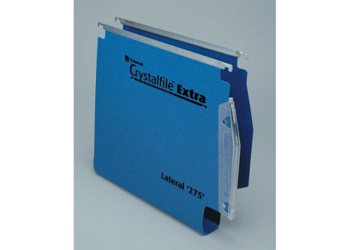 Rexel Crystalfile Extra Lateral File Polypropylene 30mm Wide-base A4 Blue Ref 70642 [Pack 25]