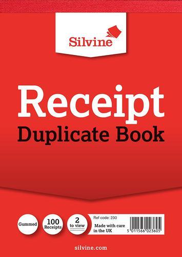 Silvine Duplicate Receipt Book 230 Pk12