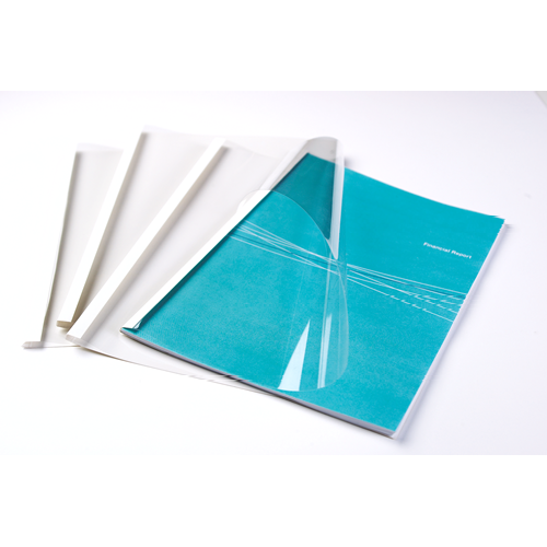 Fellowes Thermal Binding Cover A4 3mm Clear PVC Front White Card Back (Pack 100)