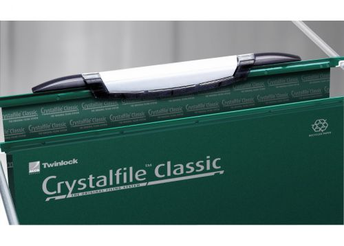 Rexel Crystalfile Classic Linking Suspension File 30mm Base Foolscap 230gsm Green Ref 3000032 [Pack 50]