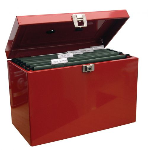 Value Cathedral Metal File Box A4 Red