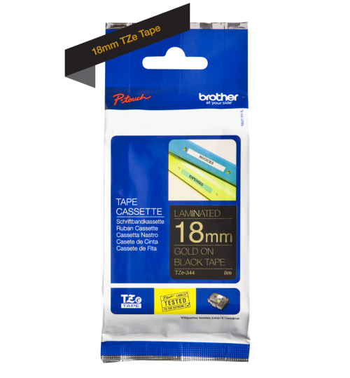 Brother TZE344 Gold On Black Label Tape 18mmx8m