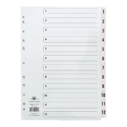Concord Classic Index Set 1-12 Clear Mylar CS12
