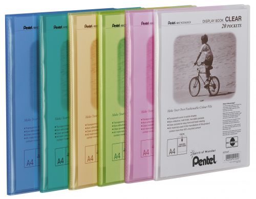 Pentel Recycology A4 Display Book Clear 30Pockets Green PK10