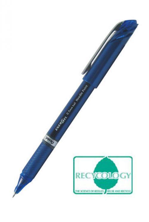 Pentel Energel Plus Gel Rollerball Pen 0.5mm Tip 0.25mm Line Blue (Pack 12)