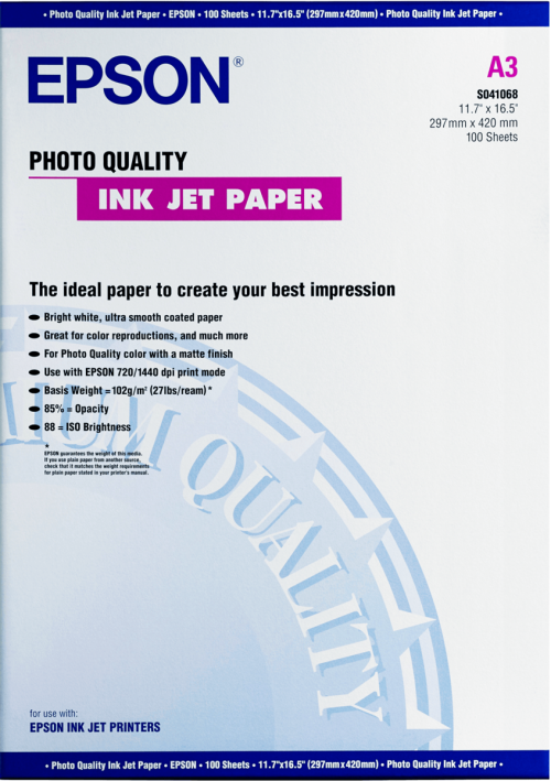 Epson C13S041068 Photo Paper A3 100 Sheets