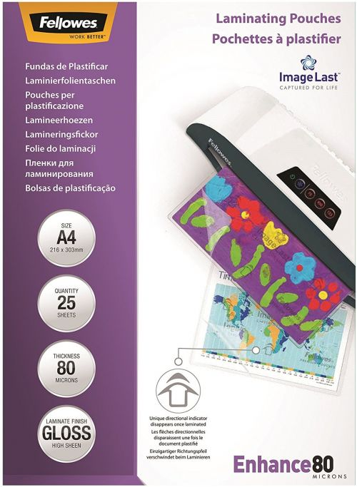 Fellowes Laminating Pouch A4 2x80 micro. Pack of 25