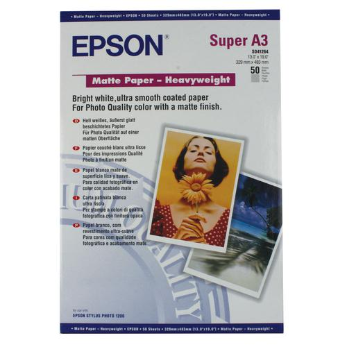 Epson C13S041264 Matte Heavyweight Paper A3Plus Pack 50