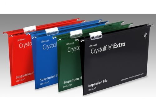 Rexel Crystalfile Extra Suspension File Polypropylene 15mm V-base Foolscap Green Ref 70628 [Pack 25]