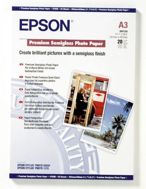 Epson C13S041334 Semi Gloss Photo A3 20 Sheets