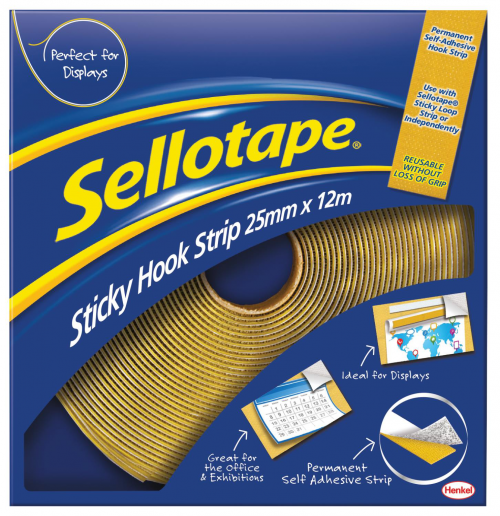 Sellotape Sticky Hook Strip 25mmx12m Yellow 1445179