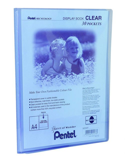 Pentel Recycology A4 Display Book Clear 30 Pockets Blue PK10