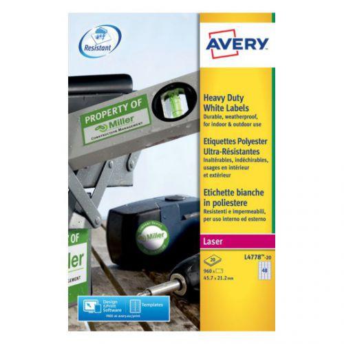 Avery Laser Label Heavy Duty 48 Per Sheet Pack 20 Code L4778-20