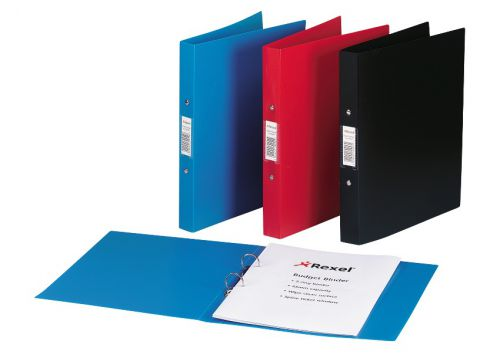 Rexel Budget Ring Binder Semi-rigid Polypropylene 2 O-Ring 25mm Size A4 Black Ref 13422BK [Pack 10]