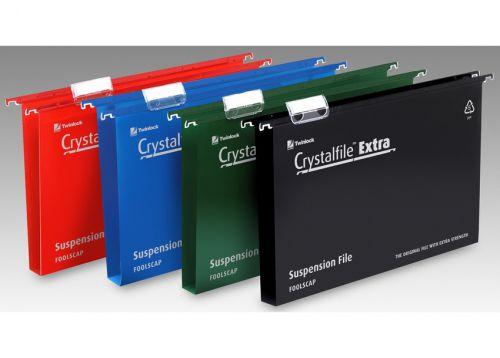 Rexel Crystalfile Extra Suspension File Polypropylene 50mm Base Foolscap Black Ref 3000115 [Pack 25]