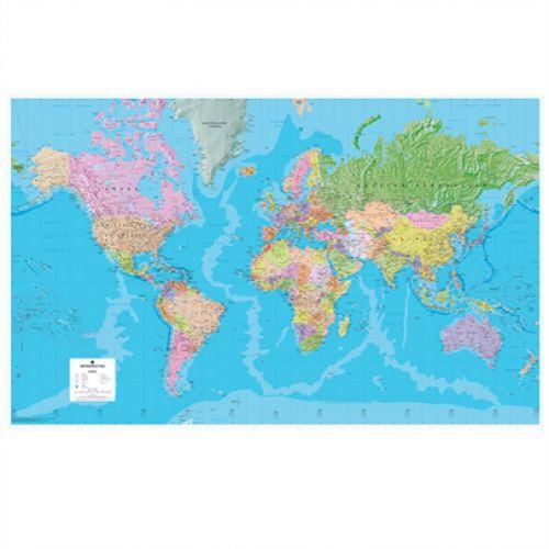 Map Marketing Giant World Political Laminated and Framed Map GWLDF