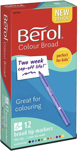 Berol Color Broad Fibre Tipped 1.7mm Assorted PK12