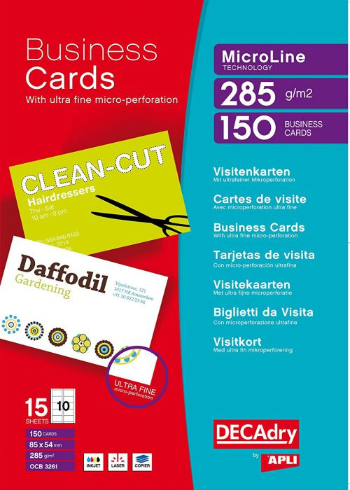 Decadry MicroLine Bright WT 285gsm  Business Cards PK150