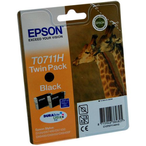 Epson C13T0711H10 T0711H Black Ink 2x11ml Multipack