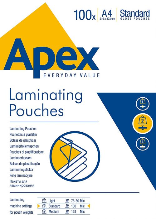 Value Fellowes Laminating Pouch A4 2x100mu 6003301 (PK100)