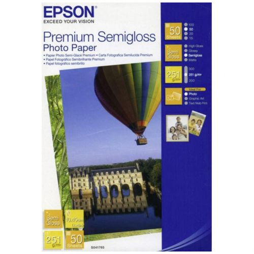 Epson C13S041765 Semi Gloss Photo Paper 10x15cm 50 Sheets