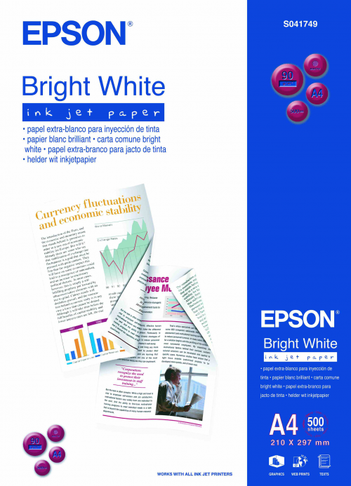 Epson C13S041749 Bright White Paper A4 500 Sheets