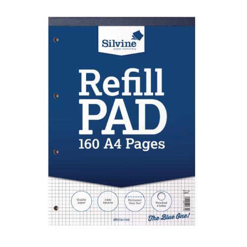 Silvine A4 Refill Pad 5mm Quadrille PK6