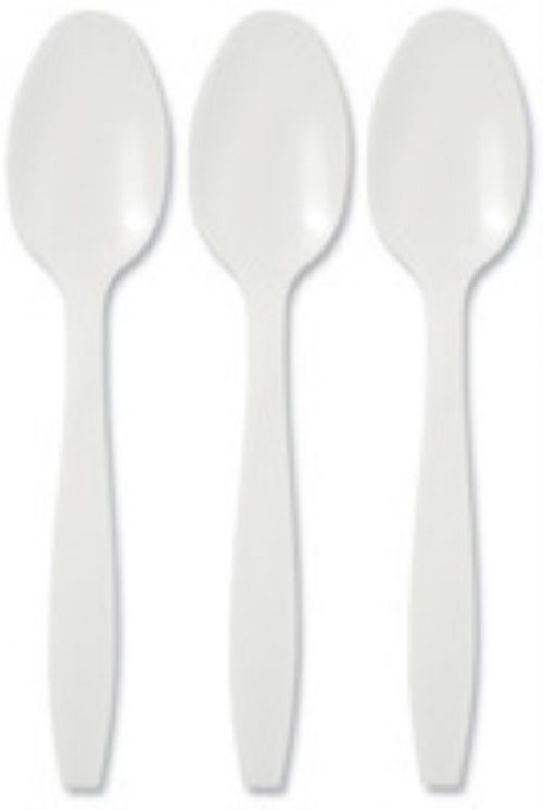 Value Dessert Spoons Plastic White (Pack 100)