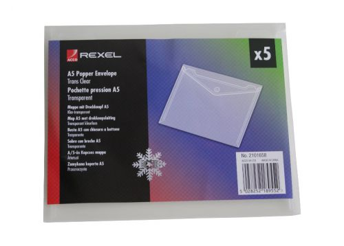 Rexel Ice Wallet Durable Polypropylene Popper-seal A5 Translucent Clear Ref 2101658 [Pack 5]