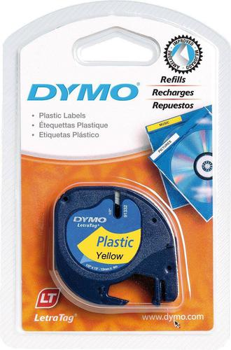 Dymo LetraTag Clear Plastic Tape 12mm x 4m Black on Yellow S0721620