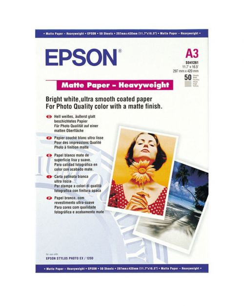Epson Matt A3 Photo H/Weight Paper Pk50